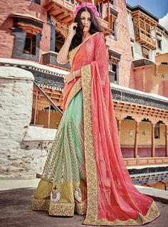 4b35ff9a08 Pink Net Half N Half Saree 106202 Indian Designer Sarees, Latest Designer  Sarees, Indian