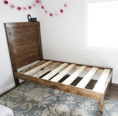 Ana white build a simple planked wood bed free and easy diy Diy Furniture Plans, Bedroom Furniture, Home Furniture, Woodworking Furniture, Recycled Furniture, Fine Woodworking, Woodworking Projects, Condo Bedroom, Woodworking Store