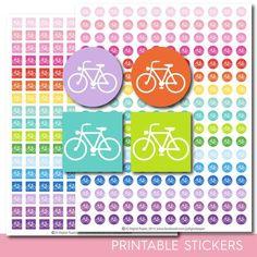 Biking stickers, Fitness stickers, Fitness planner stickers, Fitness printable stickers, Bicycle stickers, Spinning stickers, STI-281