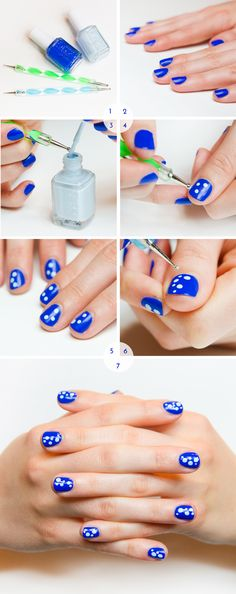 under the sea, marine, nail art, essie, butler please, borrowed & blue, dotting tool