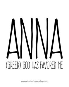 Anna Name Meaning Art - Printable Birthday Party Gift - Nursery Printable Art - Digital Print - Home Decor - Typography Wall Decor Good Meaning, Names With Meaning, Cute Baby Names, Baby Girl Names, Anna Name, Greek Girl Names, Classic Names, Name Wallpaper, Creative Writing