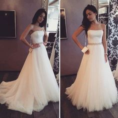Long sequins sash wedding dress,Strapless train wedding dress, Cheap A-line tulle wedding dress , PD210103