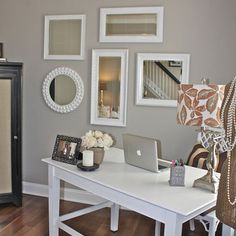 BEDROOM Mirror collage... spare room idea. I like the way the desk