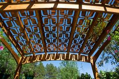 looking underneath an all-weather patio shade for outdoor entertaining made from Parasoleil Patterns