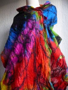 hand felted scarves | felted scarf with swirls clashing harmony nuno felted scarf using hand ...