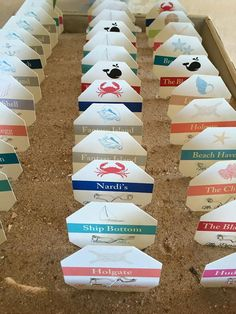 Beach Badge Escort Cards, Beach Badge Place Cards, Beach Destination Wedding, Custom Made, Printed on textured card stock, table numbers