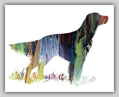 English setter, setter, English setter print, Dog Wall Print, Dog Artwork, Art print dog, Setter art prints, instant download, colorful art, on Etsy