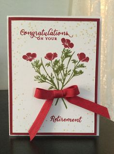 "Stampin' Up! ""Wild About Flowers"" retirement card in Cherry Cobbler and Old Olive. Offray ribbon."