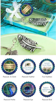 Peacock Wedding Feather Keychains Favors