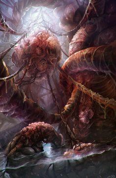 Organic Worlds by DanteCyberMan Arte Horror, Horror Art, Dark Fantasy Art, Dark Art, Mountains Of Madness, Lovecraftian Horror, Eldritch Horror, Fantasy Places, Environment Concept Art