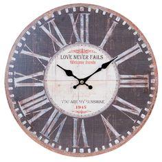 Clayre & Eef Uhr Uhr  schwarz MDF Ø34*3 cm 6KL0414 | real