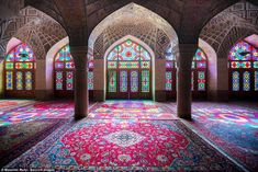 The Nasir al-Mulk Mosque in Shiraz, also called the Pink Mosque, is a masterpiece of geometry, patterns and design with stunning colours