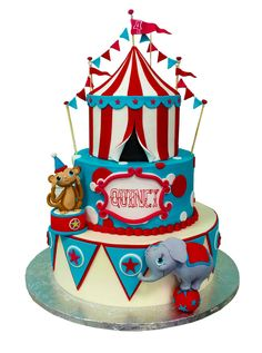 So cute! Just needs to be condensed into a smaller cake. Love the circus tent. Love the little elephant. Love the age plaque.