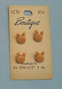 Cute Buttons – Pink Bunny – Set of Four Realistics on Original Card