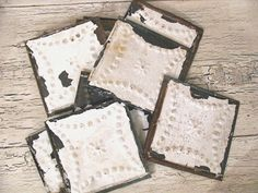 10 Antique Tin Ceiling Tiles  Rustic White  by Thebeezkneezvintage, $48.00