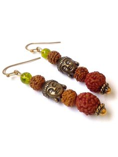 Thaise earring, Boheemse earring, Boho bengelen oorbellen van ebben hout Boeddha earring, Rudraksha zaden earring