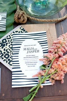 zebra and cheetah print wedding invitations // photo by Daisy Blue // invitations by http://dlshdesign.com