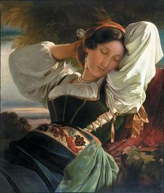 franz xaver winterhalter, Girl from the Sabine Mountains. The Nazi government stole this painting during WWII and it was only reclaimed by its rightful owner after decades of protracted litigation. Franz Xaver Winterhalter, Painting Of Girl, Potrait Painting, Victorian Art, Museum Of Fine Arts, Art Plastique, Artist Art, Female Art, Art History