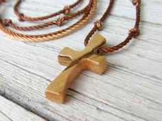 Wooden Cross Pendant  Handcrafted African Zebrawood by TheLotusShop on Etsy, $16.95