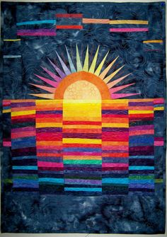 Art quilt wall hanging Sunrise After Full Moon by marytequilts