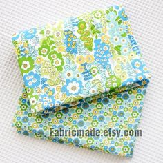 Spring Flower Cotton Fabric Blue Yellow Green On by fabricmade