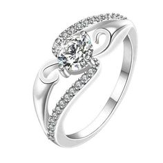 Sterling Silver Cute Solitaire Style CZ Ring Sz 7-8