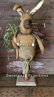 Sweetpeas Primitives~ Primitive rabbit doll now available for adoption