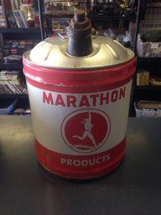RARE Vintage Marathon Running Man Motor Oil 5 Gallon Oil Gas Can Metal Red | eBay