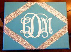 11 x 14 Canvas Paint: White, Blue Mod Podge Silver Glitter Masking Tape White Paper Canvas Crafts, Diy Canvas, Monogram Canvas, Canvas Art, Canvas Ideas, Canvas Paintings, Diy Monogram, Cute Crafts, Diy And Crafts