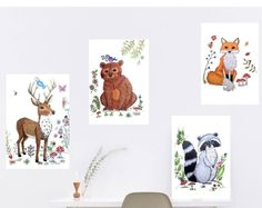 Woodland animal decor, woodland nursery decor, woodland baby shower decor, Woodland nursery prints, woodland animal prints, animal nursery