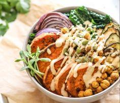 Crispy Chickpea, Sweet Potato and Kale Bowls