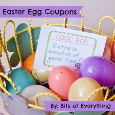 Easter Egg Coupons. Not instead of candy, but to have less candy. Lets face it, I like the candy!