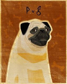 A whimsical rendering of a Pug makes a great addition to any pug decor idea.. This image is part of the Fido Series, a series of dog breeds by digital artist John W. Golden. Image is reproduced on arc