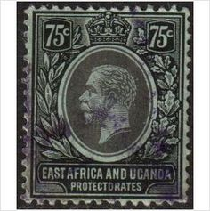 KUT East Africa Scott 48 - SG52a, 1912 Crown CA 75c used stamps sur le France de eBid