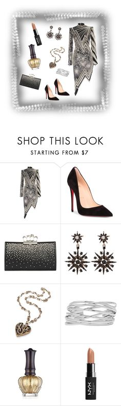 """Metalic"" by jeanstapley ❤ liked on Polyvore featuring Christian Louboutin, Alexander McQueen, M&Co, Anna Sui and NYX"
