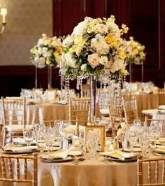 White and yellow tall centerpiece