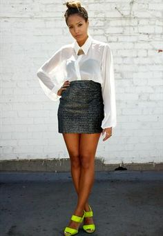 Okay, I really repinned because of her shoes....Vintage 80's Metallic Sparkly Grey High Waisted Mini Skirt  £25