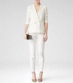 Womens Cream Gold Button Blazer - Reiss Monza