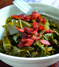 Pressure Cooked Collard Greens with Bacon by Nom Nom Paleo