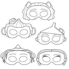 Wizard of Oz Printable Black and White Line Art Party Masks