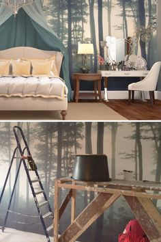 Absolutely in love with this styled bedroom using our Sea of Trees wallpaper. The hanging canopy adds a fairytale touch that works wonderfully with the enchanting forest landscape.