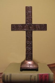 Traditional Stations of the Cross Table Cross. Solid polished bronze. - 8.5 Inches high - Solid Bronze
