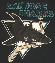 Vintage 1990's San Jose Sharks NHL Hockey logo t-shirt.