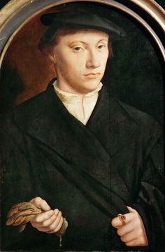 ab. 1550 Barthel Bruyn I - Portrait of a man with gloves