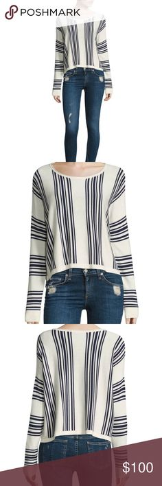 "NWT Splendid Striped Wool Blend Sweater Comfortable wool blend sweater with contrasting stripes - high/low hen - about 25"" from shoulder to hem. NEW WITH TAGS 🙌🙌 Splendid Sweaters Crew & Scoop Necks"