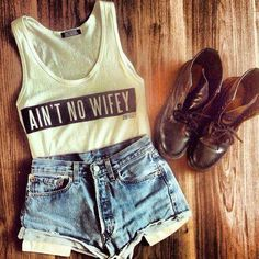 Ain't No Wifey tank top + high waisted denim shorts + short combat boots