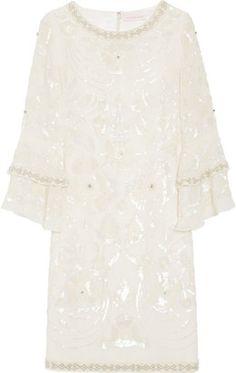 ShopStyle: Matthew Williamson Poppy embellished silk-georgette shift dress