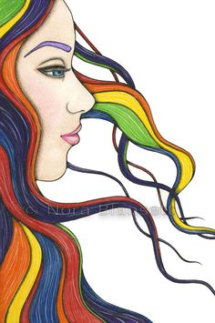 I Am My Own Rainbow Original Watercolour by Nora Blansett