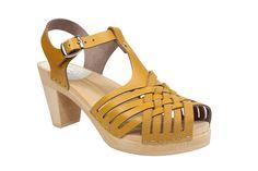 Maguba High Heel Valencia T-Bar Clog Ochre Yellow
