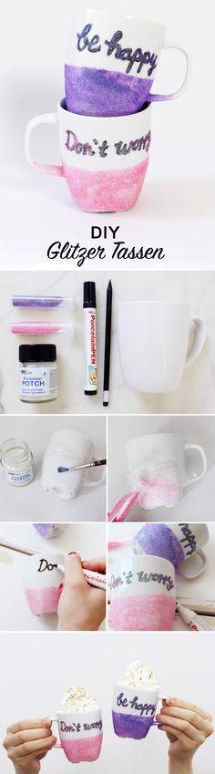 DIY Tassen mit Schrift und Glitzer verzieren: Einfache DIY Geschenk-Idee für Geburtstage!